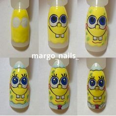 Step by Step Nail Art Design Bob Sponge Cartoon Nail Designs, Cool Nail Designs, Nail Art Hacks, Gel Nail Art, Nail Art Dessin, Nail Drawing, Crazy Nail Art, Disney Nails, Best Acrylic Nails