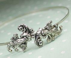 Antique style headband Marie Antoinette silver by mylavaliere. $32.00, via Etsy.