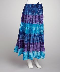 Take a look at this Blue Tie-Dye Skirt by SR Fashions on #zulily today!