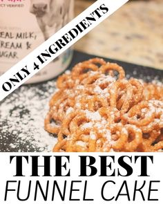 Made with only 4 ingredients, this is the best funnel cake recipe. Top the funnel cake with powdered sugar, whipped cream or make it a truly decadent treat with vanilla ice cream. Fair Funnel Cake Recipe, Funnel Cake Batter, Easy Funnel Cake Recipe With Pancake Mix, Bisquick Funnel Cake Recipe, Carnival Funnel Cake Recipe, Funnel Cake Fries, Bisquick Recipes, Delicious Desserts, Yummy Food