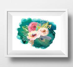 Watercolor flower Print Large Floral wall art by DorindaArt