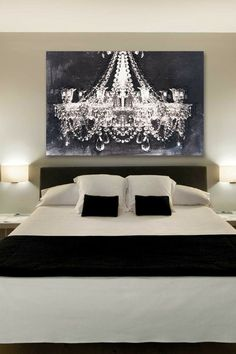 The chandelier art by Oliver Gal gives a romantic touch to this bedroom. Black and white bedroom ideas. Classy and elegant. Chandelier Art, Chandelier Picture, Bedroom Chandeliers, Painted Chandelier, White Chandelier, Iron Chandeliers, Couple Bedroom, My New Room, Sweet Home