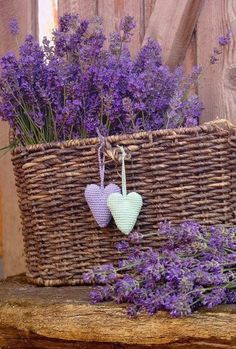 Lavender and wicker basket