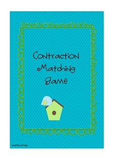 This is a contraction Matching Game that includes a worksheet for reinforcement. You can put matching stickers on the backs of the cards for self-c...