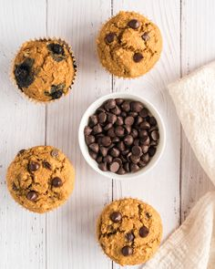 These VEGAN CHOCOLATE CHIP MUFFINS are easy to make any day of the week, sure to become a family favorite! Try the option of added blueberries too! Vegan Baking Recipes, Vegan Desserts, Snack Recipes, Snacks, Chocolate Chip Muffins, Chocolate Chips, Chewy Brownies, Fruit Cobbler, Homemade Candies