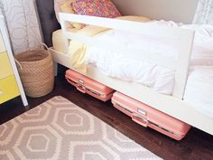Use vintage suitcases for underbed storage. | 49 Clever Storage Solutions For Living With Kids