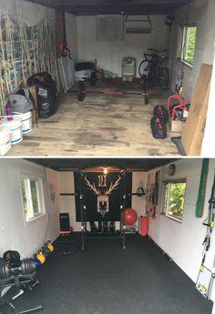 home gym design Crossfit Garage Gym, Home Gym Garage, Diy Home Gym, Home Gym Decor, Gym Room At Home, Workout Room Home, Basement Gym, Best Home Gym, Workout Rooms
