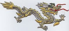 Iron On Embroidered Applique Patch Chinese Yellow and Gold Dragon