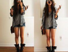 shorts and boots rocker image    shoes black black shoes plaid cute girly rocker punk love grey shorts ...