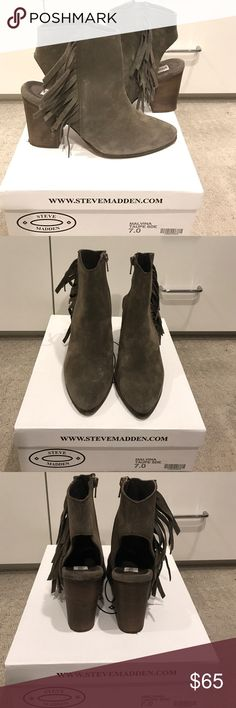 Steve Madden Fringe booties 'Malvina' Taupe suede booties. Beautiful color (taupe/grey/green) and so cute. Gently worn once. In excellent condition. Steve Madden Shoes Ankle Boots & Booties
