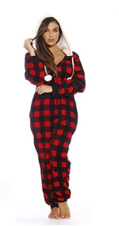 Plaid Red Cabin Onesie. Adult Onesie PajamasFleece ... 959ab8d6b