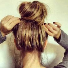An almost perfect bun dresses up the simple styles and adds CLASS.