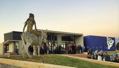 Hoerskool Waterkloof Function Venue and Student Accommodation, Pretoria, South Africa. 'Lady on a Donkey' art instillation by Angus Taylor. Completed in Photographed by Pieter Mathews. Public Architecture, Pretoria, Donkey, Statue Of Liberty, South Africa, African, Student, Contemporary, Lady