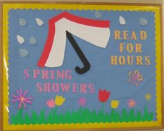 This attractive spring bulletin board is found in the church library . School Library Displays, Middle School Libraries, Library Themes, Library Signs, Library Boards, Library Activities, Elementary Library, Library Ideas, Library Decorations