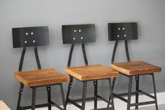 Set of 3 Barstools, Barstool, Industrial Steel, Reclaimed Wood, Seating, Metal Stool, Wood and Metal, Furniture Store, Wooden Furniture $540 by DendroCo