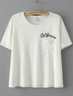 White Short Sleeve Letters Print Pocket T-Shirt 8.90