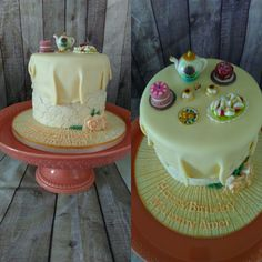 Tea set cake for a surprise birthday,all hand band no moulds used