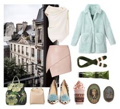 """""""together in Paris"""" by kseniakul ❤ liked on Polyvore featuring Prada, P.A.R.O.S.H., Godiva, Michelle Mason, Roland Mouret, Dolce&Gabbana, Charlotte Olympia, Aesop and Shrimps"""