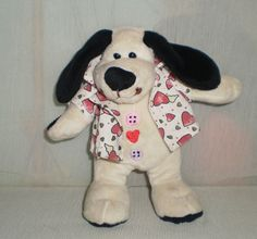 Buttons Loves You SOFT TOY Embroidery  Dog Wearing LOVE HEARTS JACKET
