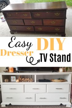 Grab this amazing easy DIY plan to create your own &; Grab this amazing easy DIY. - Grab this amazing easy DIY plan to create your own &; Grab this amazing easy DIY plan to create you - Diy Furniture Nightstand, Diy Furniture Tv Stand, Tv Stand Decor, Diy Tv Stand, Design Furniture, Repurposed Furniture, Furniture Refinishing, Furniture Ideas, Dresser Tv Stand