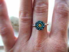 Blue Topaz and Citrine Ring Stackable Statement Ring Sterling Silver. $460.00, via Etsy.