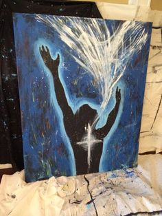 Holy Spirit painting, worship art, worship painting of man praising God with cross on his chest and worship coming out of his mouth in praise.  Prophetic Art.