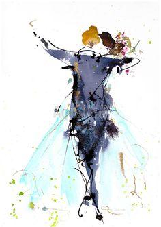 illustration à l'aquarelle et à l'encre. Idée de faire-part mariage. https://www.etsy.com/fr/listing/449868894/aquarelle-mariage-danse-illustration?ref=listing-shop-header-1