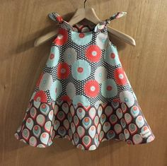 Spring/Summer Retro Print Hippie Boho  Shoulder Tie Dress, girls size 3t by SewMeems on Etsy