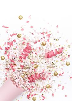Styled Stock Photography | Pink, white, & gold confetti party image | Styled…