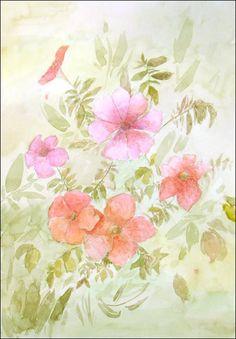 Pink Gloxinia  Original Watercolor Painting  94x13 inch by DaryArt
