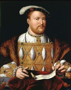 Henry VIII by Joos van Cleve, ca. 1535. Painted during his brief marriage to his second wife, Anne Boleyn. He actually looks handsome in this picture.