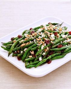 {5-Star Makeover} Green Bean Casserole: Fresh Green Beans with Cranberries, Pecans, and crumbled Gorgonzola Cheese