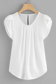 SHEIN offers Petal Sleeve Pleated Detail Curved Hem Blouse & more to fit your fashionable needs. Blouse Styles, Blouse Designs, Petal Sleeve, Tulip Sleeve, Pleated Fabric, Plain Tops, Blouse Online, Ladies Dress Design, Short Sleeve Blouse