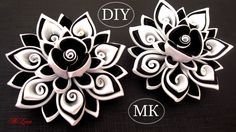 Резинки канзаши, МК / DIY Scrunchy with Kanzashi flower / Black & White ...