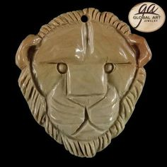 BI07516# Natural Hand Carved Lion Head Succor Creek Jasper Pendant Bead #Handmade #Pendant