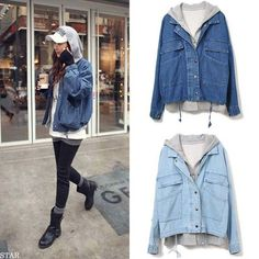 Loose cardigan hooded vest denim coat two-piece outfit