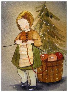 from Maarit Ailio Christmas Scenes, Christmas Time, Holiday Cards, Christmas Cards, Illustrator, Retro Illustration, Vintage Illustrations, Knit Art, Jingle Bells