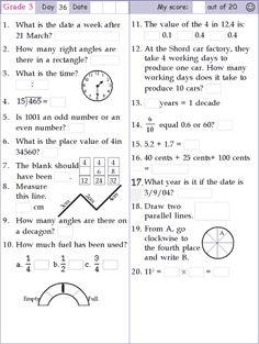 Mental Math Grade 3 Day 10   Mathematics worksheets ...