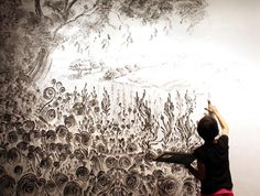 Judith Braun, Diamond Dust, 2012, drawn on wall with fingers dipped in charcoal