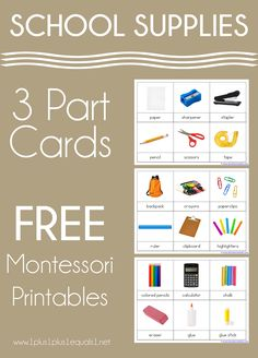 School Supplies 3 Part Cards Back to school theme! #1plus1plus1 #montessori #nomenclature #backtoschool Classroom Organization, Classroom Ideas, Free School Supplies, Preschool At Home, School Themes, Worksheets For Kids, Learn To Read, Early Learning, Learning Activities
