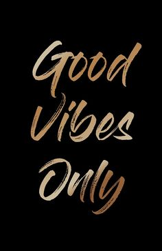 Good Vibes Only' Textual Art on Wood, black background with golden lettering