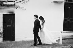 Black And White Wedding Bride Groom Outdoors