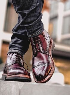 David wearing our Dunbeath Leather Brogue Boot. Cut from Italian adigo leather that is hand finished with layer upon layer of dye to create a beautifully rich colour. - Mens Boots - Ideas of Mens boots Leather Brogues, Leather Shoes, Soft Leather, Mens Brogue Boots, Suede Leather, High Ankle Boots, Shoe Boots, Men's Boots, Dress With Boots