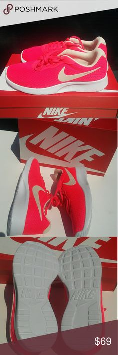 Women's Nike Tanjun sz 8.5 Brand new in box Never been worn 100% authentic Hot pink color way Sz 8.5 Nice and comfortable shoe Nike Shoes Sneakers