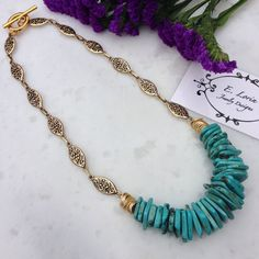 Turquoise Natural Slab Necklace by ELorinJewelryDesigns on Etsy https://www.etsy.com/listing/219580007/turquoise-natural-slab-necklace