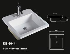 Product Name:Drop In Vanity Sink Model No.: DB 9044 Dimension:  445X465X135mm (1 Inch U003d 25.4 Mm) Volume: 0.175CBM Gross Weight: 11KGS (1 KG  ≈ 2.2 LBS) Sink ...