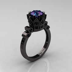 Exclusive Classic Armenian 14K Black Gold 1.0 Alexandrite Black Diamond Bridal Solitaire Ring R405-14KBGBDAL