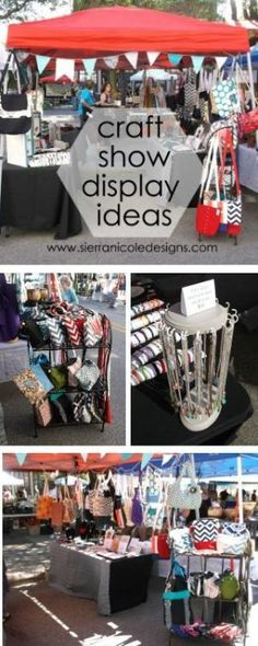 Craft show booth display ideas for bags, jewelry and paper products. #handmade…