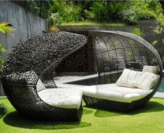 Modern Outdoor Daybed Furniture Design, Sculptural Collection by Neoteric Luxury, Twin Cheap Patio Furniture, Diy Garden Furniture, Outdoor Wicker Furniture, Furniture Design, Furniture Ideas, Resin Furniture, Wicker Chairs, Coaster Furniture, Furniture Outlet