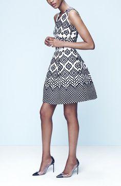 Taylor Dresses Cotton Jacquard Fit & Flare Dress (Regular & Petite) | Nordstrom